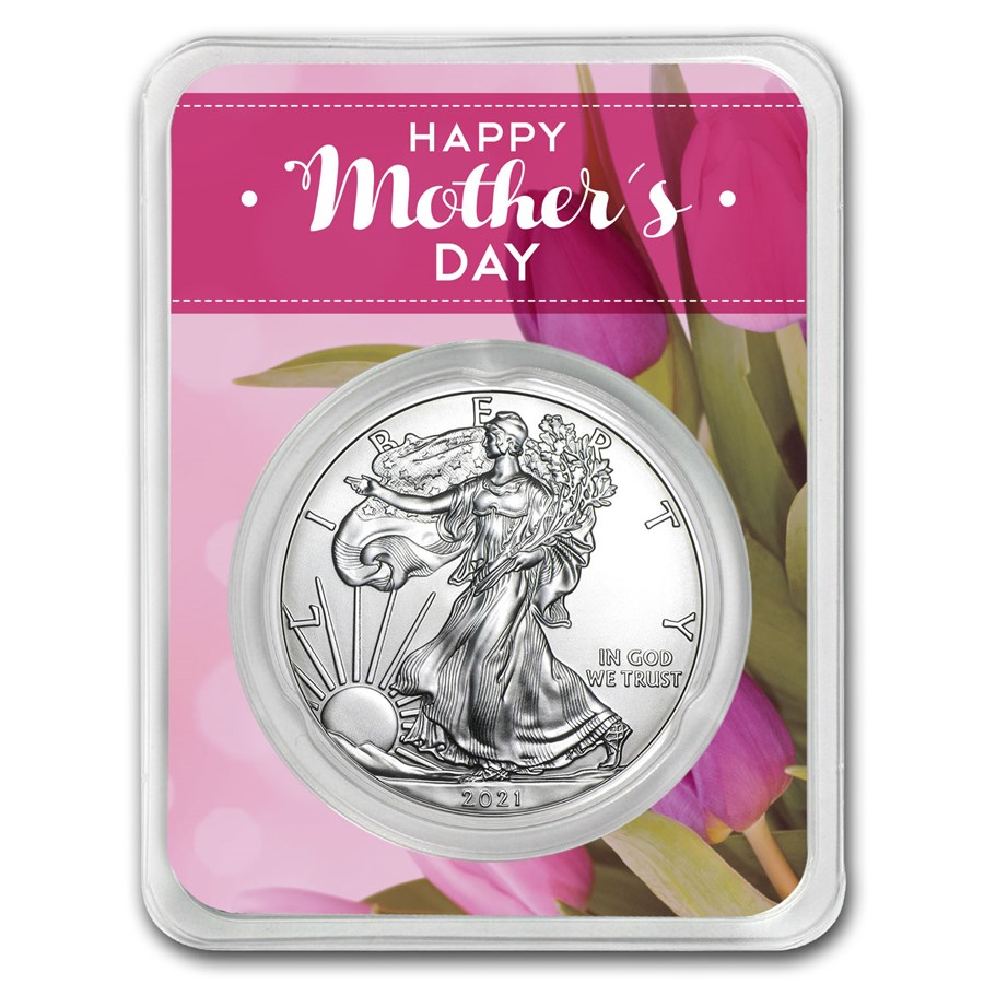 2021 1 oz Mother's Day Floral Silver American Eagle