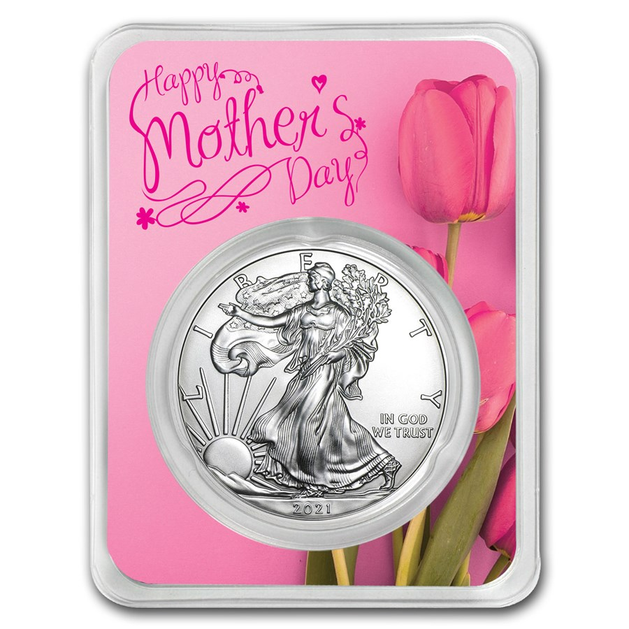 2021 1 oz Mother's Day Pink Silver American Eagle