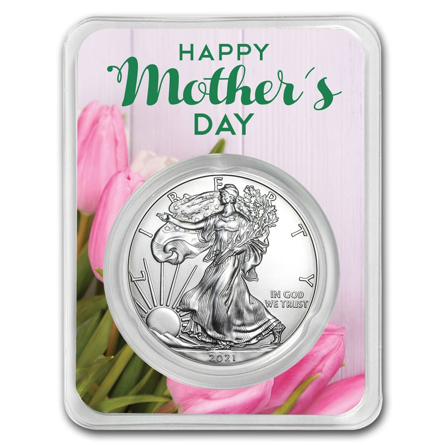 2021 1 oz Mother's Day Tulips Silver American Eagle