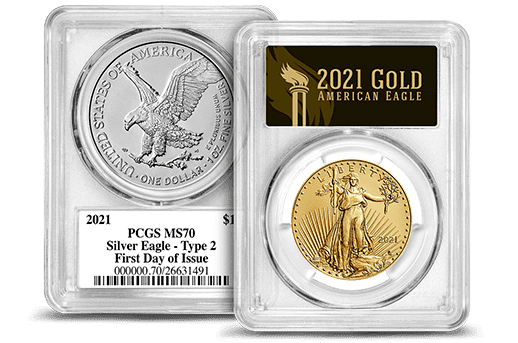 2021 PCGS Certified Gold & Silver Eagles Type 2