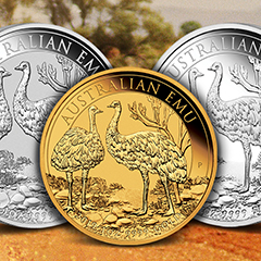 Find Perth Mint Emu Coins in Gold and Silver