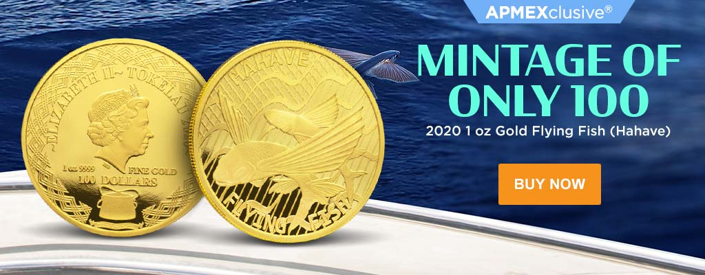 2020 1 oz Gold Flying Fish (Hahave)