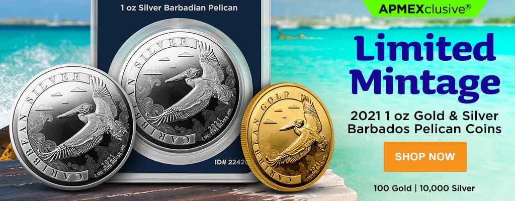 2021 1 oz Gold & Silver Barbados Pelican Coins