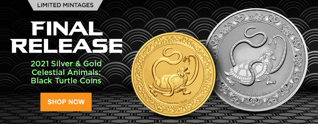 2021 Silver & Gold Celestial Animals: Black Turtle Coins