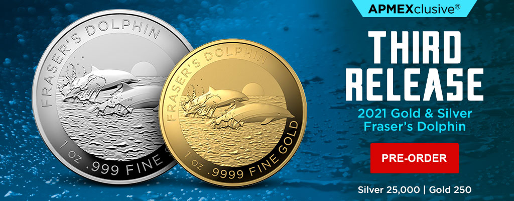2021 Gold & Silver Fraser's Dolphin Coins