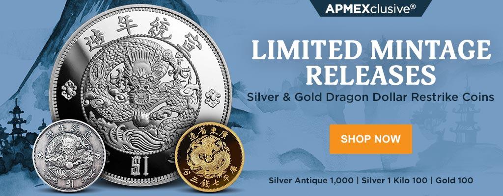 Silver & Gold Dragon Dollar Restrike Coins