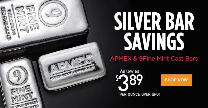 APMEX & 9Fine Mint Cast Silver Bars