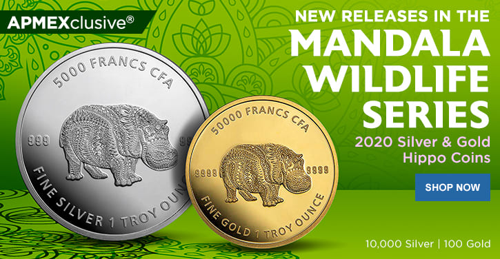 2020 Gold and Silver Mandala Wildlife Hippo Coins