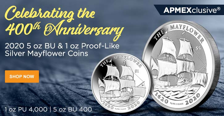 2020 5 oz BU & 1 oz Proof-Like Silver Mayflower Coins