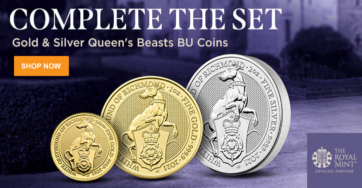 Gold & Silver Queen's Beasts BU Coins