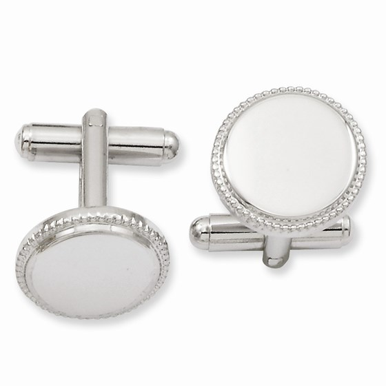 Rhodium Plated Polished Beaded Round Cuff Links