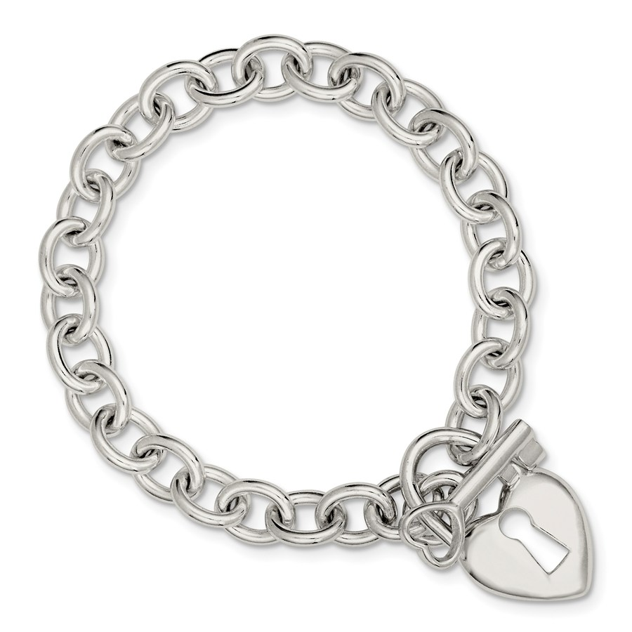 Sterling Silver Polished Heart & Key Bracelet
