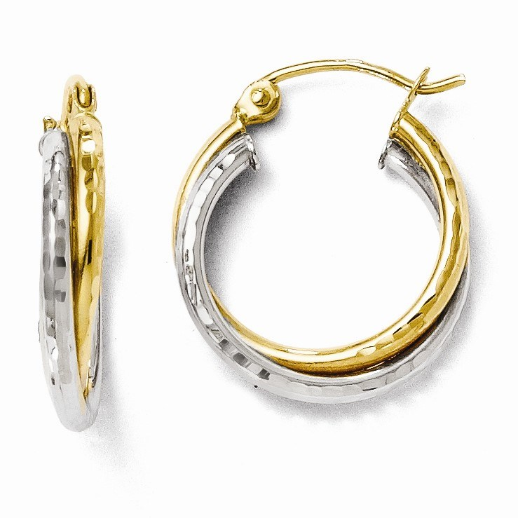 Leslies 14K Two-tone Diamond-cut Hinged Hoop Earrings