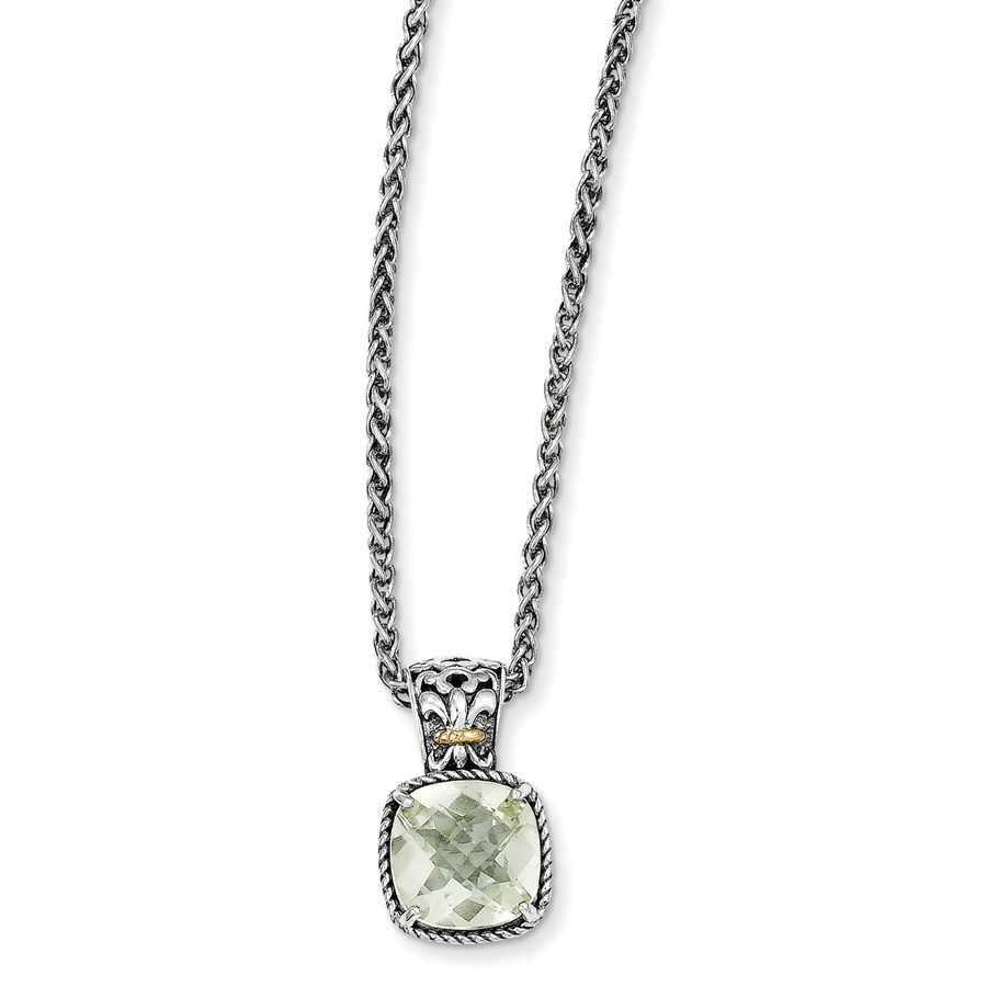 Sterling Silver w/14k Gold & Green Quartz Necklace