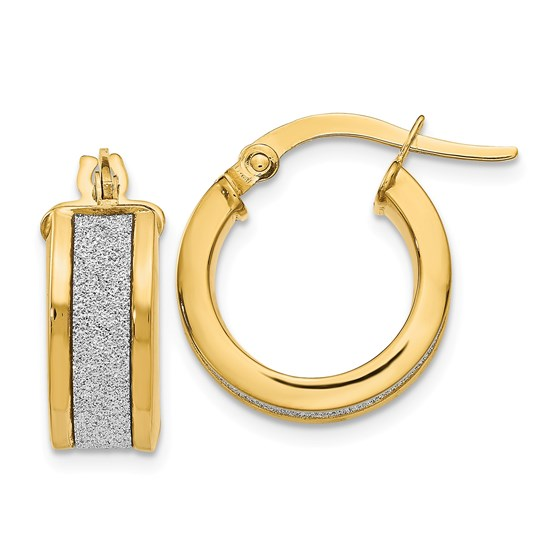 14k Gold Fancy Gli mmer Infused Hoop Earrings