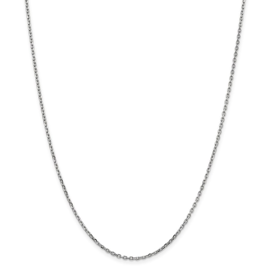 14k White Gold 1.8 mm Diamond Cut Cable Chain - 18 in.