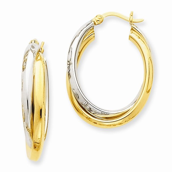 14k Gold Two-Tone Polished Double Oval Hoop Earrings