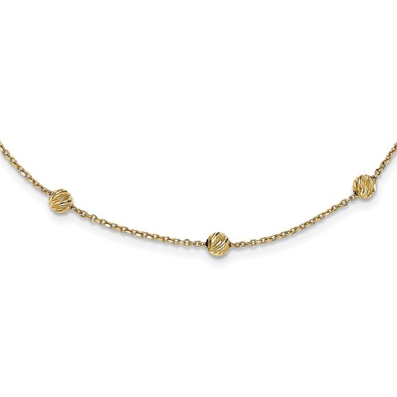 14k Gold Diamond Cut Beads Station Necklace