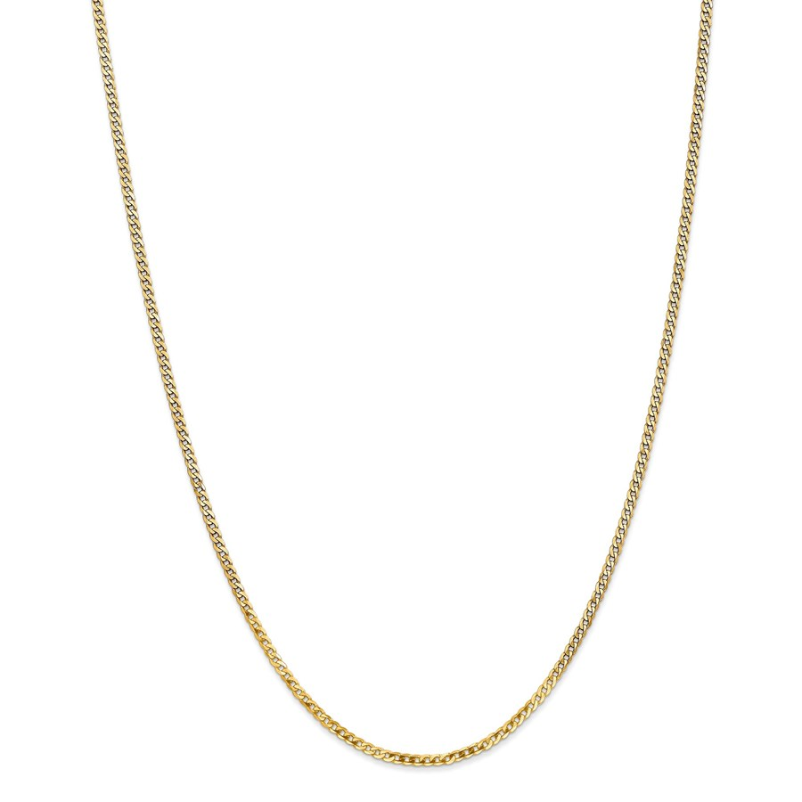 14k Gold 2.2 mm Beveled Curb Chain - 24 in.