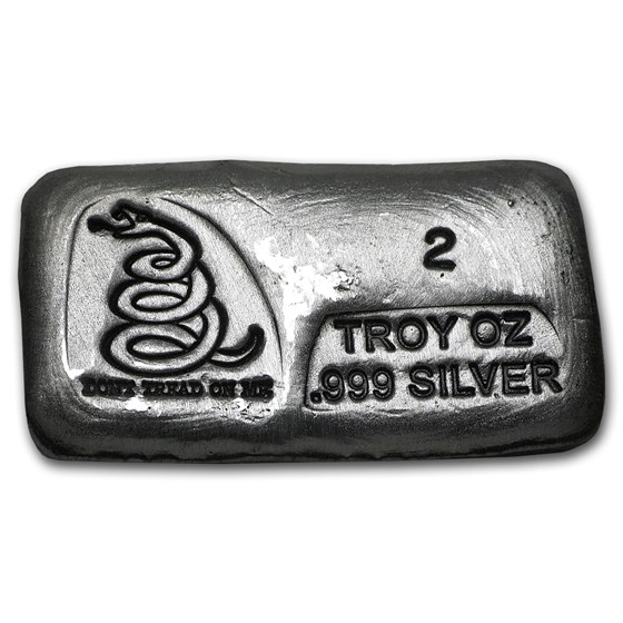 2 oz Hand Poured Silver Bar - Don't Tread On Me