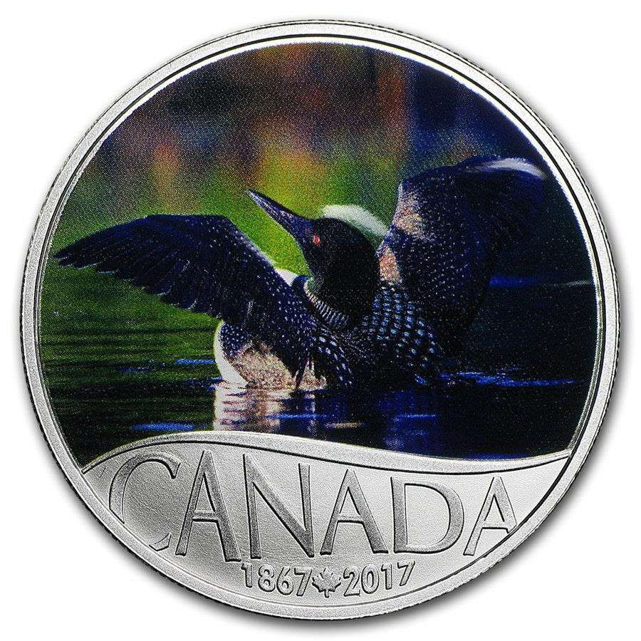2017 Canada 1/2 oz Silver $10 Celebrating Canada's 150th: Loon