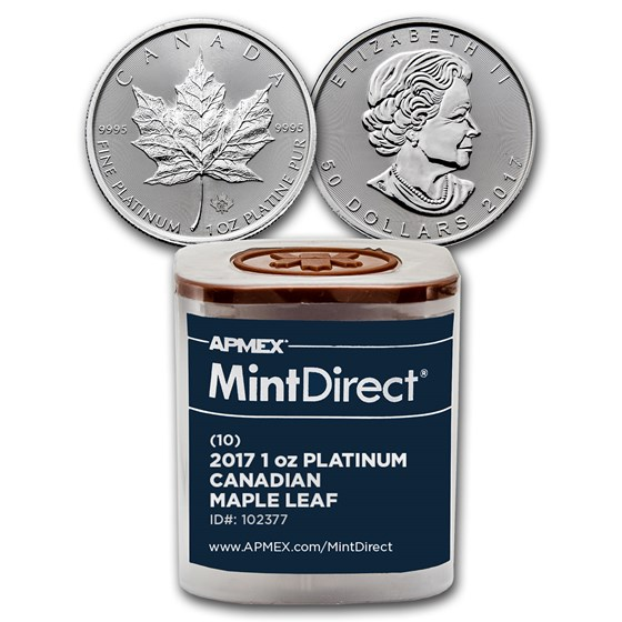2017 Canada 1 oz Platinum Maple Leaf (10-Coin MintDirect® Tube)