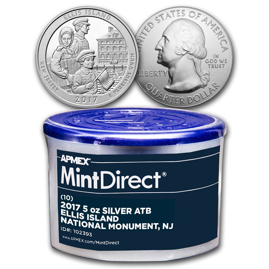 2017 5 oz Silver ATB Ellis Island (10-Coin MintDirect® Tube)
