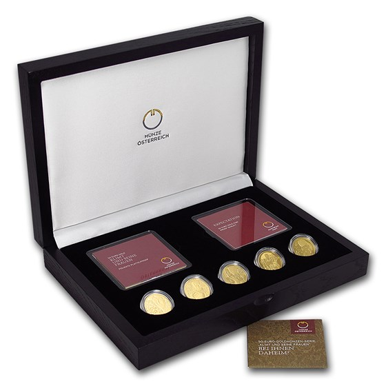 2012-2016 Austria 5-Coin Gold Klimt and His Women Proof Set