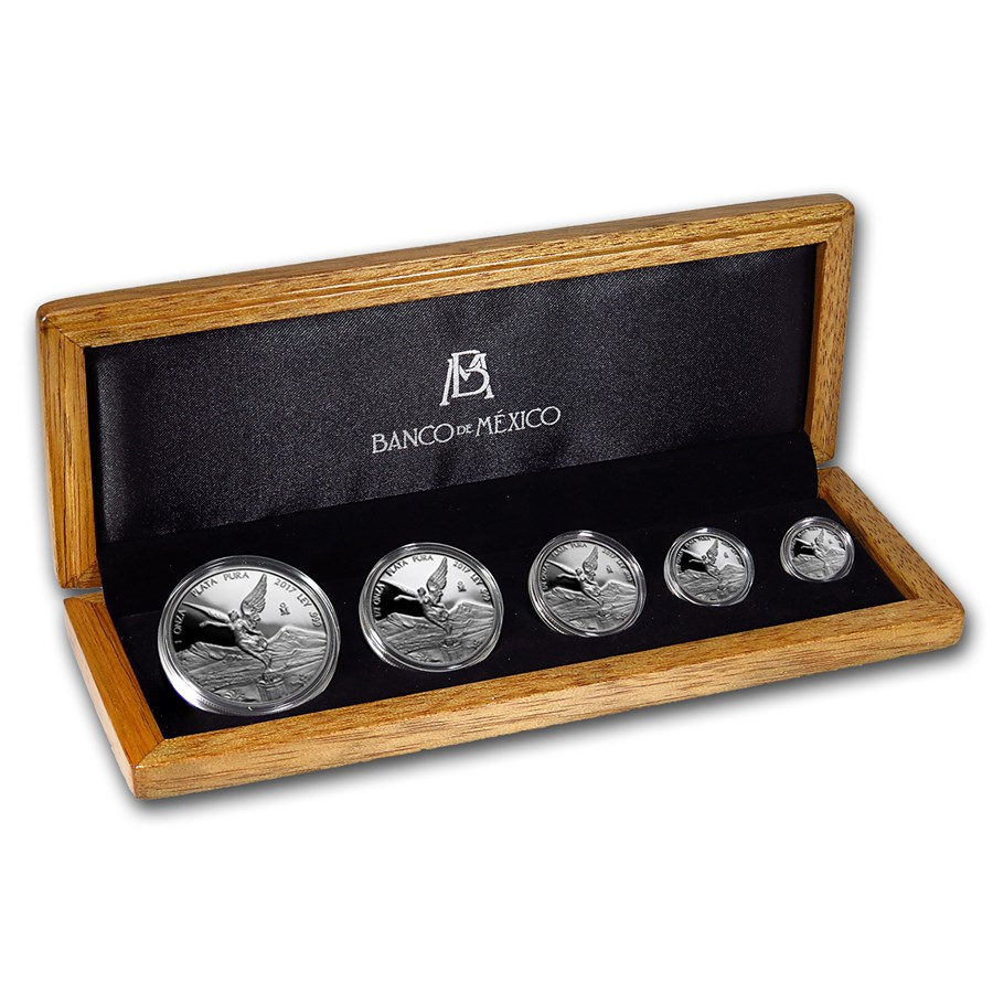 2017 Mexico 5-Coin Silver Libertad Proof Set (1.9 oz, Wood Box)