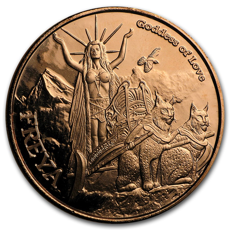 1 oz Copper Round - Freya Goddess of Love (Anonymous Mint)