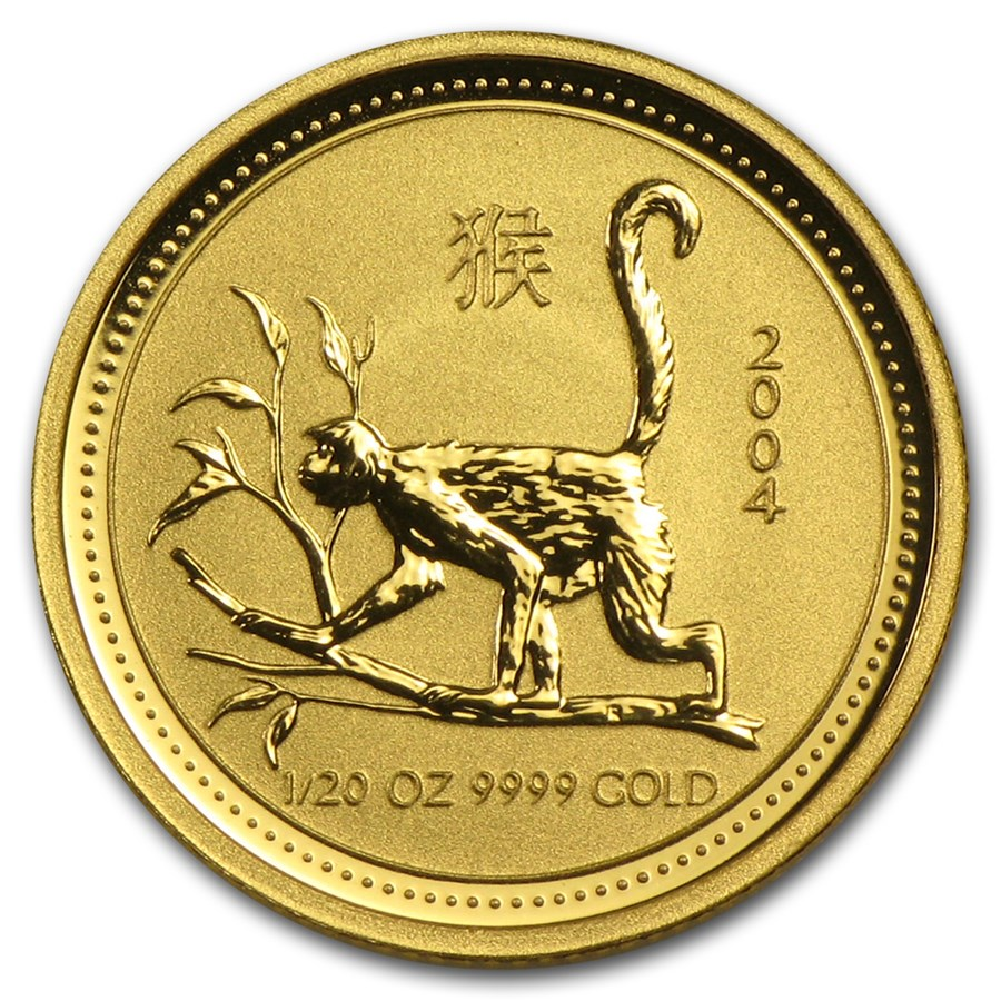 2004 Australia 1/20 oz Gold Lunar Monkey BU (Series I)