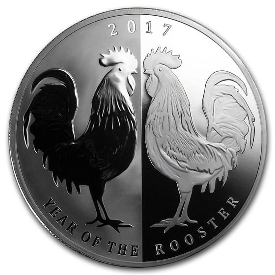 2017 Tokelau 1 oz Silver Year of the Rooster Mirror Rooster