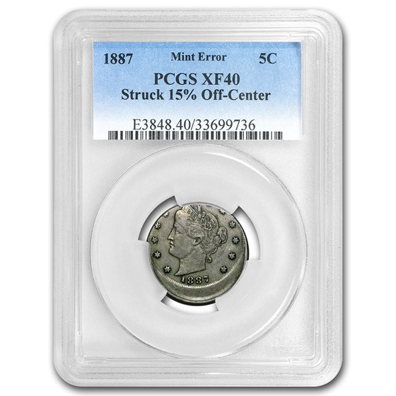 1887 Liberty Head V Nickel XF-40 PCGS (Struck 15% Off-Center)