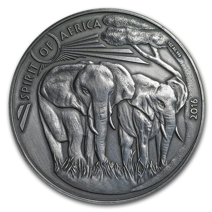 2016 Burkina Faso 1 oz Silver Spirit of Africa Elephant Series 3