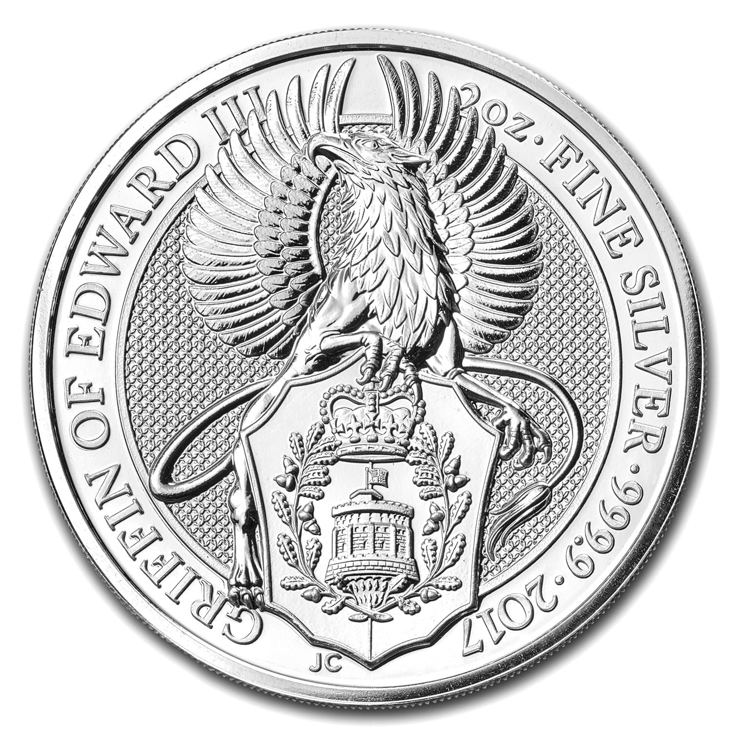 2017 Queen/'s Beast Griffin of Edward III 2 oz Silver UK Coin direct fit capsule