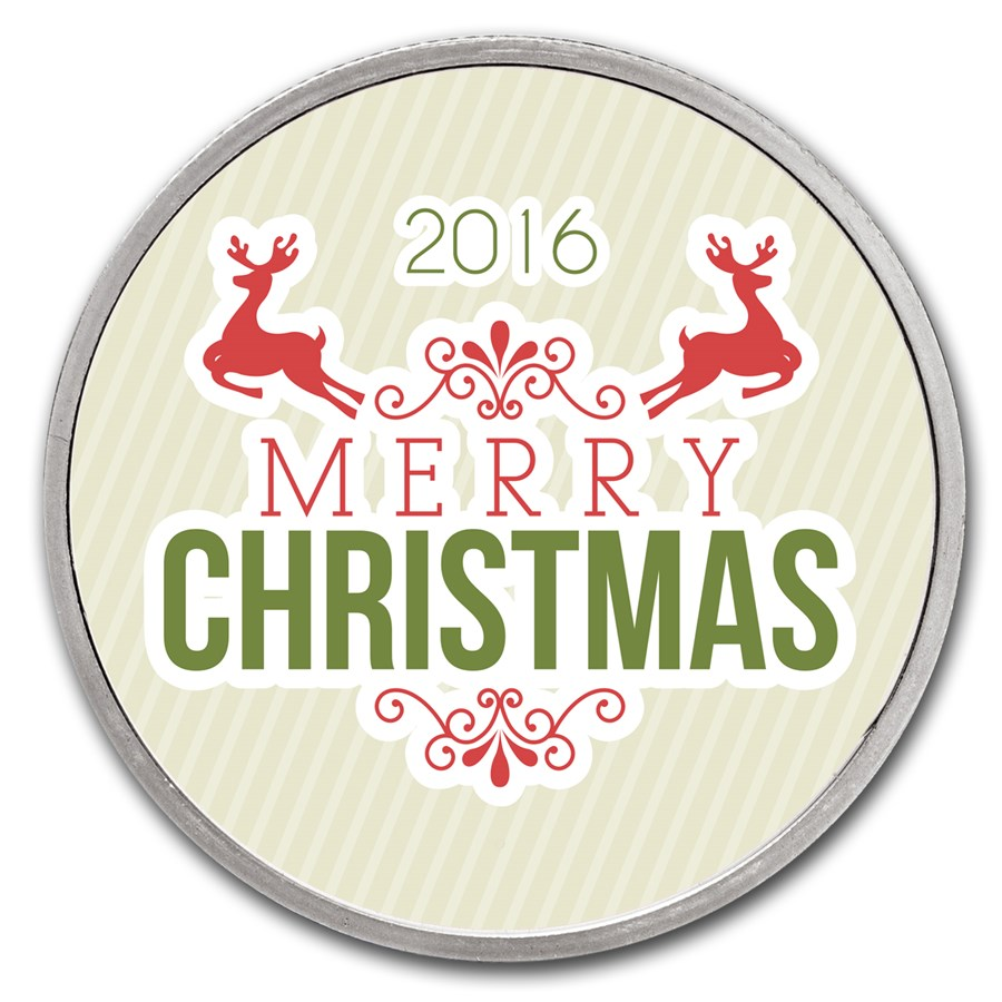1 oz Silver Colorized Round - APMEX (Merry Christmas Reindeer)