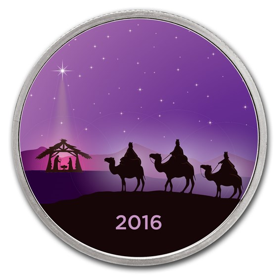 1 oz Silver Colorized Round - APMEX (3 Wise Men - Amethyst Night)