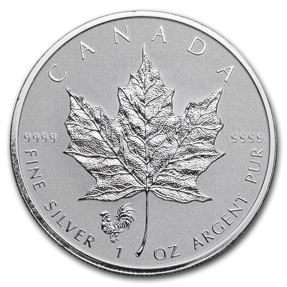 2017 Canada 1 oz Silver Maple Leaf Lunar Rooster Privy BU