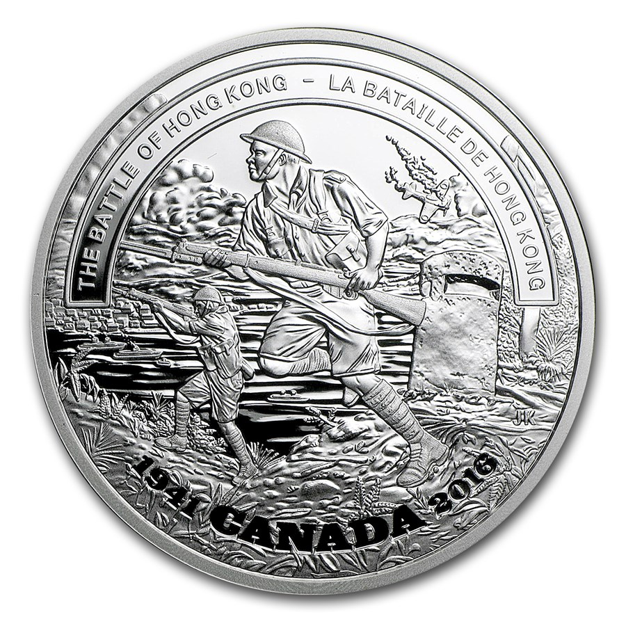 2016 Canada 1 oz Proof Silver $20 Battle of Hong Kong