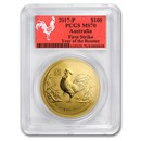 2017 Australia 1 oz Gold Lunar Rooster MS-70 PCGS (FS, Red Label)