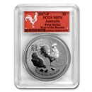 2017 AUS 1 oz Silver Lunar Rooster MS-70 PCGS (FS, Red Label)