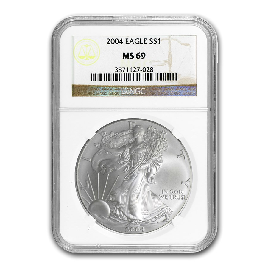 2004 Silver American Eagle MS-69 NGC