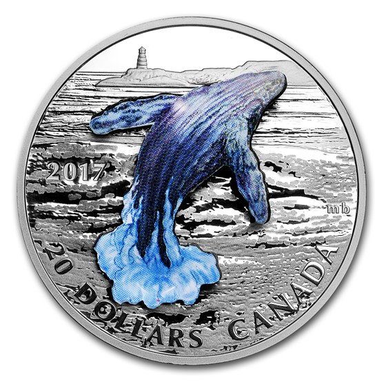 2017 Canada 1 oz Silver Proof $20 3-Dimensional Breaching Whale