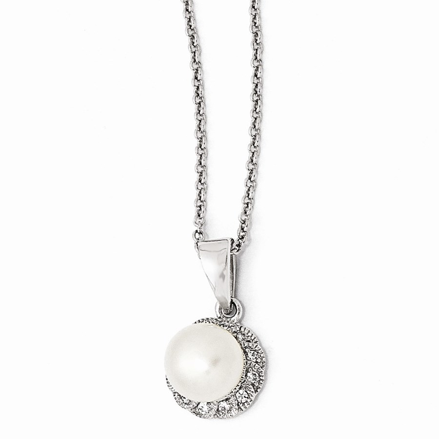 Sterling Silver Zirconia White Cultured Pearl Necklace