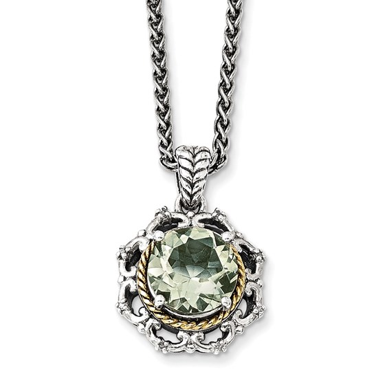 Sterling Silver Antiqued Green Quartz & Diamond Necklace