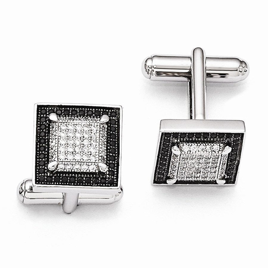 Sterling Silver & Zirconia Brilliant Embers Cuff Links