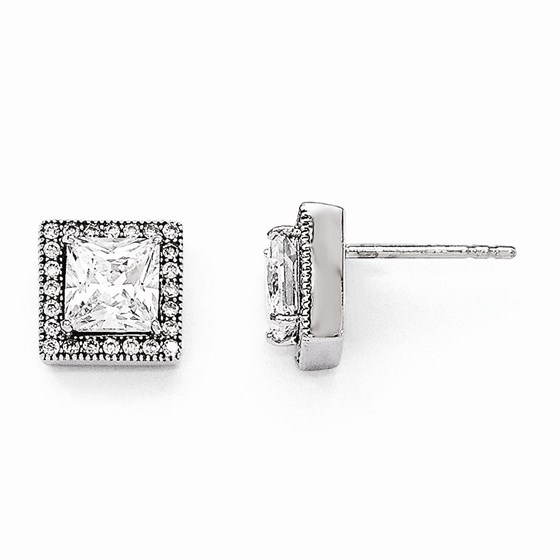 Sterling Silver Zirconia Brilliant Embers Square Post Earrings