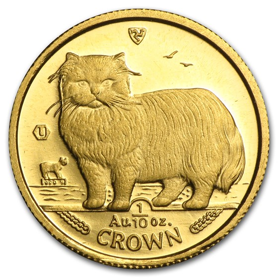 Isle of Man 1/10 oz Gold Cat BU/Proof (Random)