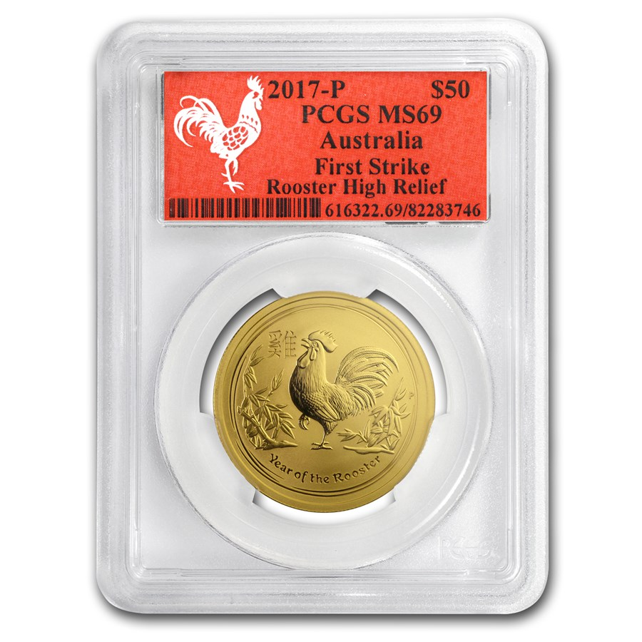 2017 AUS 1/2 oz Gold Lunar Rooster MS-69 PCGS (FS, Red Label)