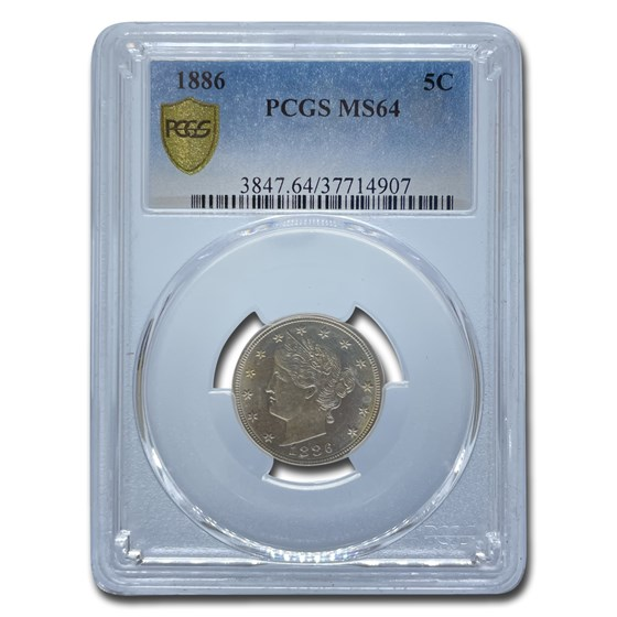 1886 Liberty Head V Nickel MS-64 PCGS
